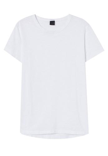 H&M white Slub Jersey T-Shirt 06A7FAA9F68E3DGS_1