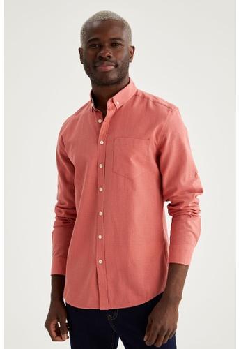 DeFacto pink Long Sleeve Cotton Shirt B9230AAC4E6ED3GS_1