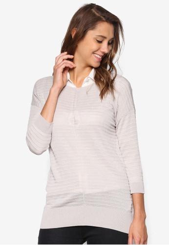 Wallis grey Grey 3/4 Sleeve Knitted Top WA800AA40ZMHMY_1