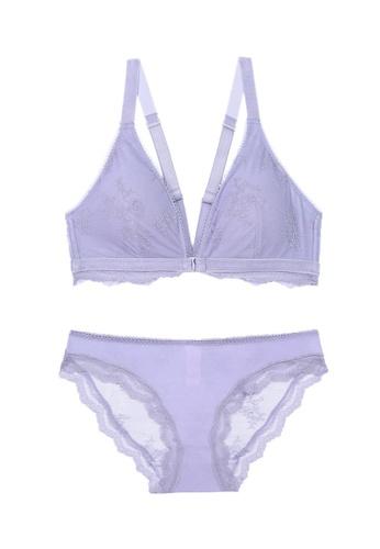 ZITIQUE purple Women's European Style 3/4 Cup Front Buckle Seamless Thin Pad Nylon Lingerie Set (Bra And Underwear) - Purple 19EEEUS54A8563GS_1