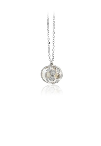 Glamorousky white 925 Sterling Silver Fashion Personality Football Freshwater Pearl Pendant with Cubic Zirconia and Necklace 9AA62ACB5304D0GS_1