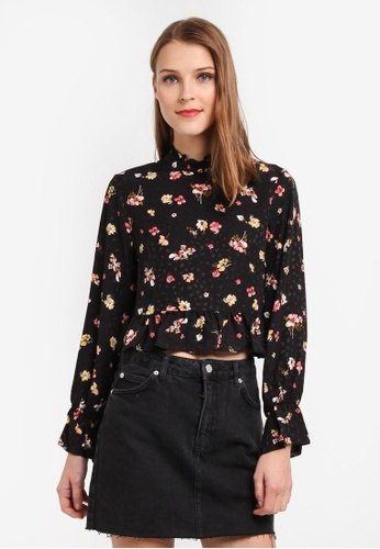 TOPSHOP multi Petite Floral High Neck Blouse 003BDAA574BB1CGS_1