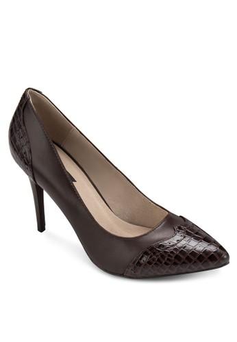 Nwcharlyesprit 衣服 鱷魚紋拼接高跟鞋, 女鞋, 鞋