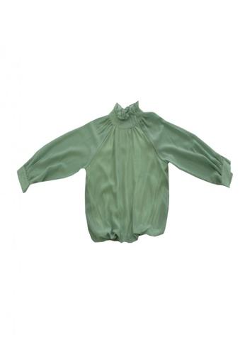 KAMDAR green Evelyn Kids Blouse D34DAKAC664631GS_1