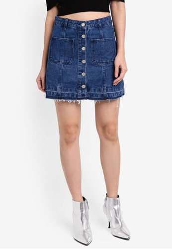 Something Borrowed blue Patch Pocket Button Down Denim Skirt 898ABAABDD80D7GS_1