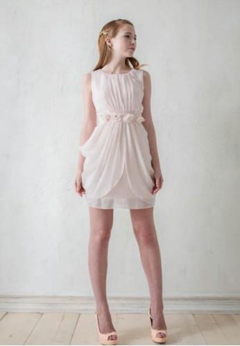 日系甜美esprit台灣門市女孩雪紡紗羅馬群短洋裝, 服飾, 短洋裝