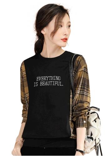 A-IN GIRLS multi Fashion Stitching Plaid Sweater T-Shirt 4F4DFAAB1B223CGS_1