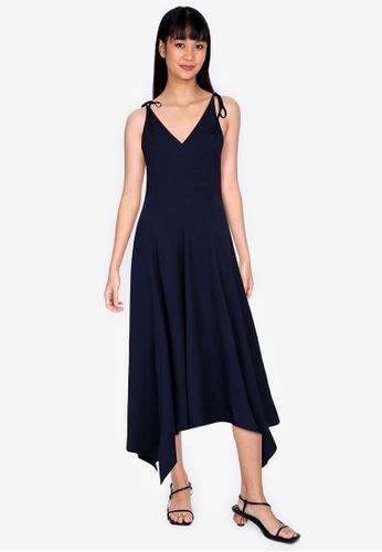ZALORA BASICS navy Asymmetric Midi Dress 15294AAA2C7DEAGS_1