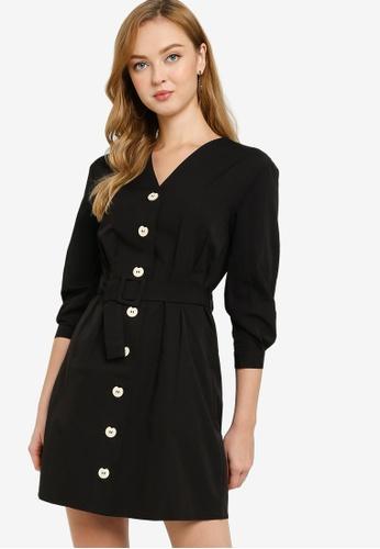 ZALORA WORK black Button Down Dress With Belt F85D9AAB5278E8GS_1