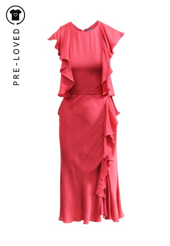 Alexander Mcqueen red Pre-Loved alexander mcqueen Ruffle Midi Dress 678C4AA3778900GS_1