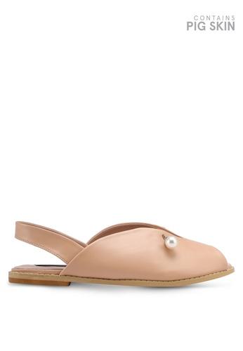 LOST INK pink Cami Pearl Bar Flat Sandals LO238SH0T1RJMY_1