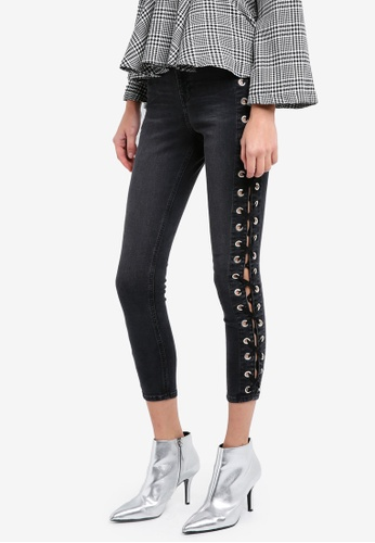 TOPSHOP 黑色 Moto Washed Black Lace Up Jamie Jeans TO412AA0SIVDMY_1