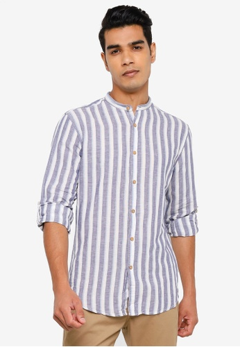 Springfield blue Striped Shirt 25915AAB851B1CGS_1