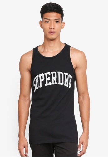 Superdry black Varsity Long Line Vest 4B0F4AA9FE5DEAGS_1