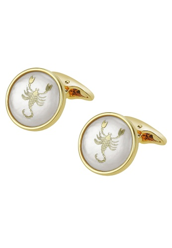 CUFF IT white White Mother of Pearl Scorpio Gold Cufflinks 0CA7DAC67FA827GS_1