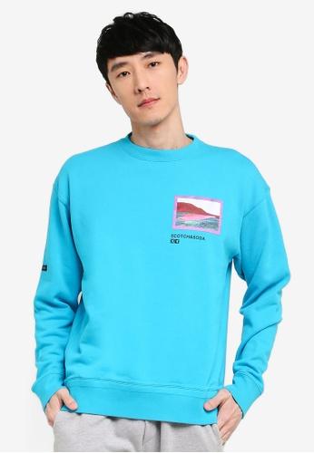Scotch & Soda blue Felpa Crewneck Sweater With Colorful Artwork 6D506AA3427C3BGS_1