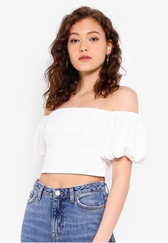 67f13d17055e30 Buy Miss Selfridge White Puff Sleeve Crop Top Online on ZALORA Singapore
