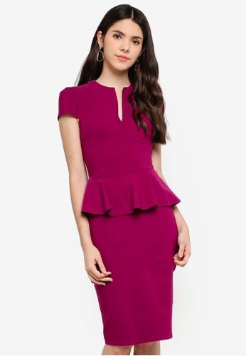 Goddiva pink Deep V Peplum Dress 53692AAE4C0E95GS_1