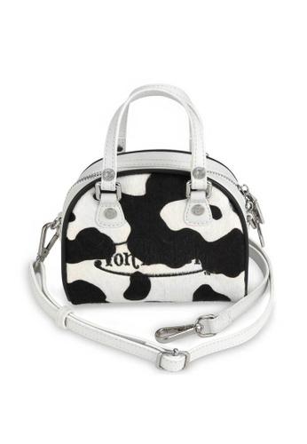 Von Dutch black and white Von Dutch Black & White Cow Print Pony Hair Leather Small Bowling Bag E4AB3AC5D0EA2CGS_1
