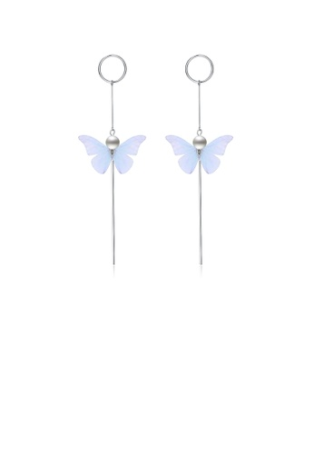 Glamorousky silver 925 Sterling Silver Elegant Sweet and Romantic Blue Lace Butterfly Long Tassel Earrings F7CD9ACDB6E37CGS_1