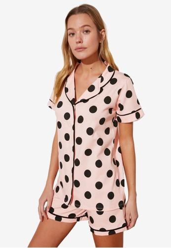 Trendyol pink Polka Dot Pyjama Set CCC6DAAF5A54B0GS_1