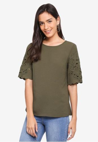 Dorothy Perkins green Khaki Cutwork Short Sleeve Top 5147FAA31834ADGS_1