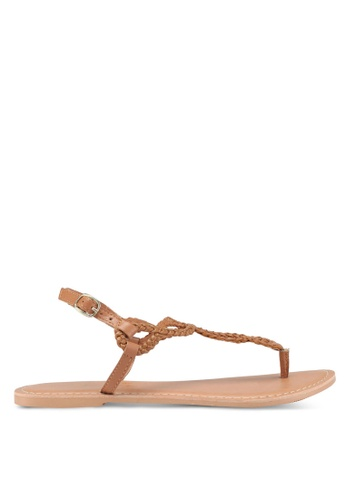 Dorothy Perkins brown Tan Leather Farah Sandals EA074SHFAA430DGS_1
