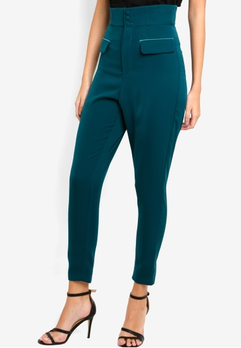 Lavish Alice green High Waisted Satin Button Tailored Trousers C8314AA9902D00GS_1