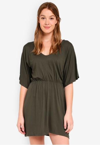 Cotton On green Reina V Neck Fit Flare Dress 7E922AA2516579GS_1