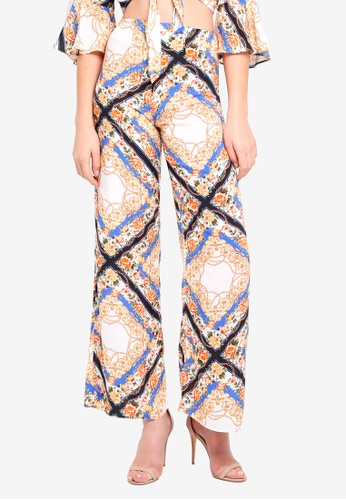 Miss Selfridge multi Chain Print Wide Leg Trousers 28418AAD65C2DCGS_1