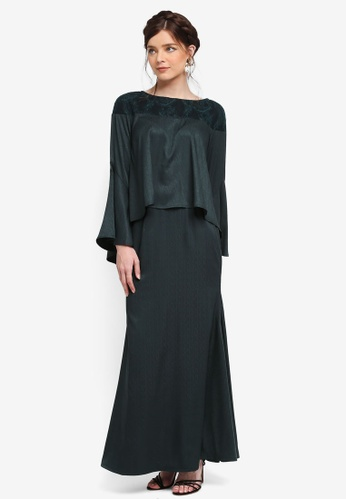 Zalia green Lace Piece Flare Sleeve Top Set AB976AAF7A26F2GS_1