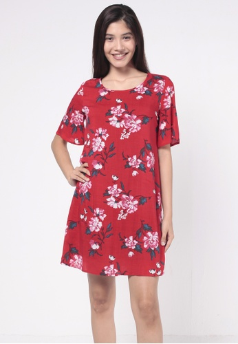 nicole red Round Neckline Floral Printed Dress 07CA0AA677A9A1GS_1