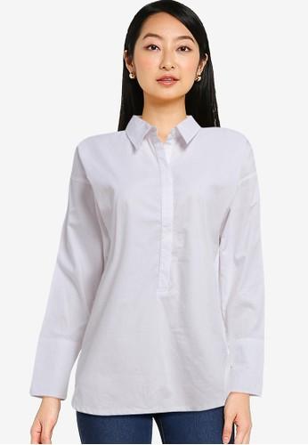 Solene white Harper Cotton Half Buttoned Shirt DE4F4AA1B9C8F0GS_1