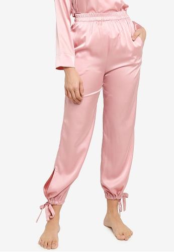 ZALORA BASICS 粉紅色 Lounge Tie Cuff Satin Pants B7C4FAA1EC9B4FGS_1
