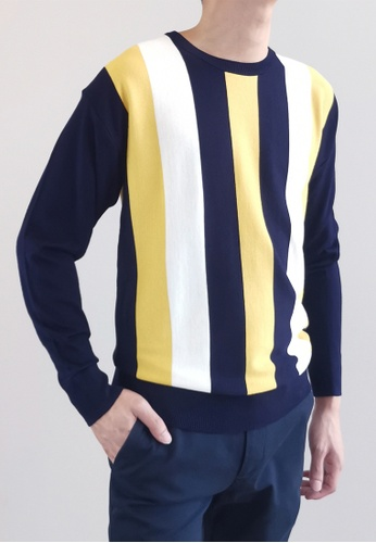 SUB yellow Men Striped Sweater C830AAA583CCE1GS_1