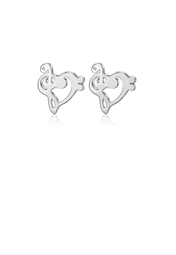 Glamorousky silver 925 Sterling Silver Simple and Fashion Musical Note Heart-shaped Stud Earrings 91FDBACAC3D9D3GS_1