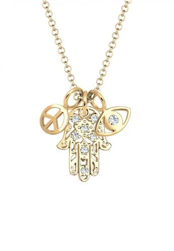 Elli Germany gold Perhiasan Wanita Perak Asli - Silver Kalung Hamsa Evil Eye Peace Crystal Gold Plated EL948AC38SARID_1