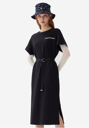 FILA black Online Exclusive Embroidery FILA SPIAGGIA Logo Side Split Cotton Dress A5948AA4828EB9GS_1
