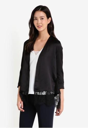 蕾絲拼接綢緞外套, 服esprit outlet 台灣飾, 外套