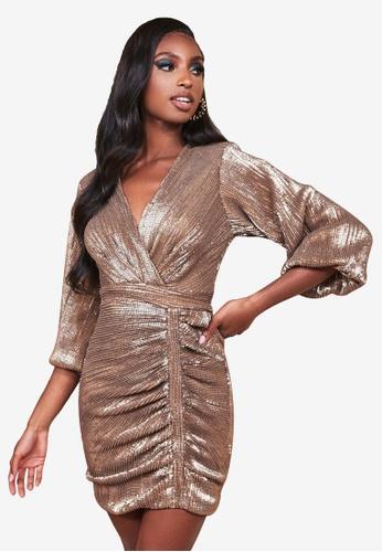 Lavish Alice gold Balloon Sleeve Pleated Sequin Mini Dress 037EBAAB829400GS_1