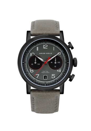 Aries Gold grey Aries Gold Urban Journey Black and Grey Leather Watch B56D8ACDBAE8FBGS_1