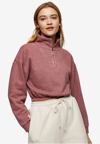 TOPSHOP pink PETITE Pink Zip Neck Funnel Sweatshirt 5E101AA4810C12GS_1