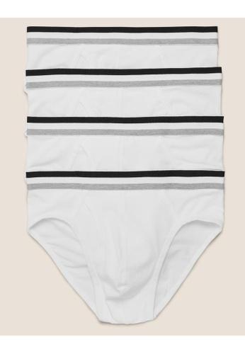 MARKS & SPENCER white M&S 4pk Cotton Cool & Fresh Briefs 9339AUSAA8DA37GS_1