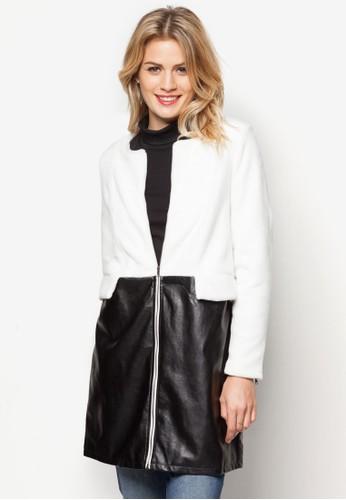PU拼接拉鍊外套, 服飾, 夾克 &zalora時尚購物網評價 大衣
