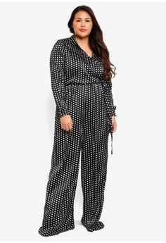 54c4517d159 MISSGUIDED black Plus Size Polka Dot Wrap Jumpsuit 0E416AA087B765GS 1