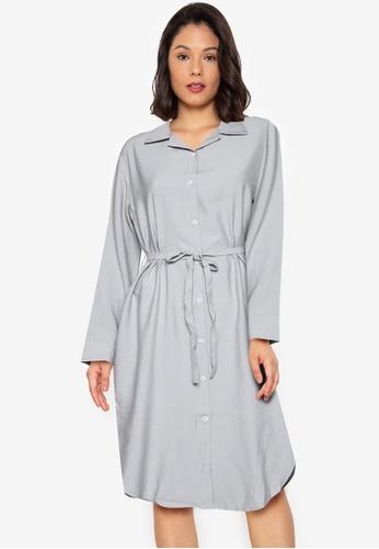 Purple Shore grey Plain Short Dress E8D84AAF3C8BBEGS_1