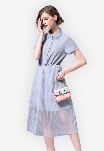 Sunnydaysweety blue 2018 S/S New Mesh Stitching One Piece Dress F89E9AA5522914GS_1