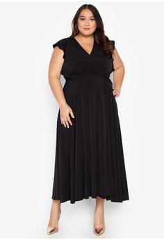 025cf71eec3 Ashley Collection Plus black Plus Size Surplice Neckline High Slit Maxi  Dress 36F1EAA1E8B076GS 1