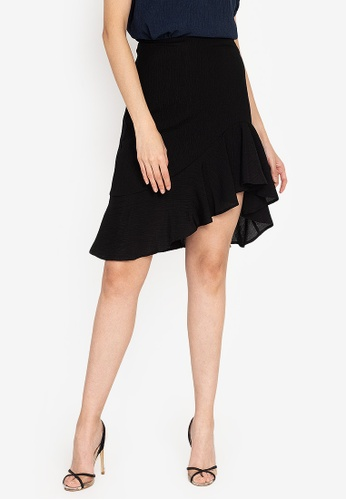ZALORA OCCASION black Textured Asymmetrical Hem Mermaid Skirt B534AAA2C8DC5FGS_1