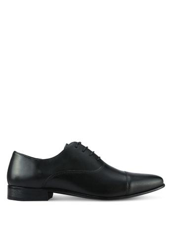 River Island black Leather Toecap Oxford Shoes RI009SH0RLTOMY_1